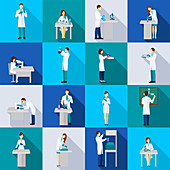 Scientist icons, illustration