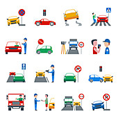 Traffic offence icons, illustration