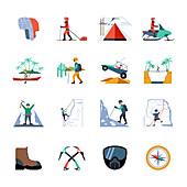 Outdoor pursuit icons, illustration
