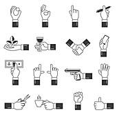 Hand icons, illustration