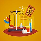 Chemistry experiment, illustration