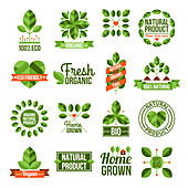 Organic and natural food labels, illustration