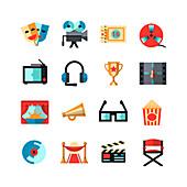 Movie icons, illustration