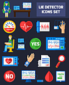 Lie detector test icons, illustration