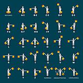 Semaphore alphabet, illustration