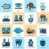Energy production icons, illustration