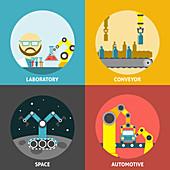 Industrial robots, illustration