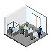 Train station turnstiles, illustration