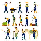 Farmer icons, illustration