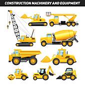 Construction vehicles, illustration