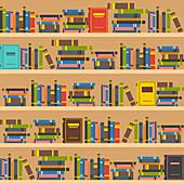 Book shelves, illustration