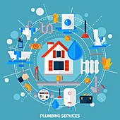 Plumbing services, illustration