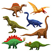 Dinosaur icons, illustration