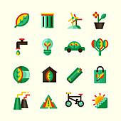 Ecology icons, illustration