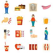 Obesity icons, illustration