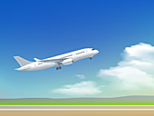 Aeroplane taking off, illustration