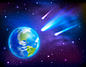 Comets and Earth, illustration
