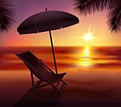 Tropical beach at sunset, illustration