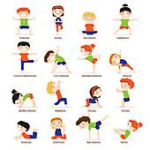 Yoga poses, illustration