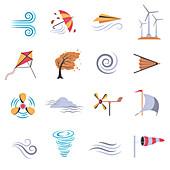 Wind icons, illustration