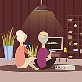 Senior couple playing video game, illustration