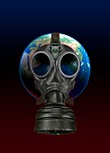 Planet earth wearing gas mask