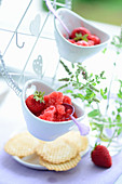 Strawberry granita and wafer biscuits