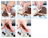 Trüffelpralinen mit Schokolade überziehen