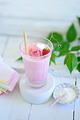 A raspberry shake with ice cream