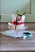 Rhubarb trifle in a decorative glass for gifting