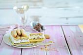 Toblerone ice cream cake with sponge fingers