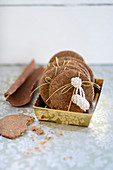 Nutmeg and clove biscuits with almonds as a gift