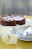 Schokoladenkuchen, angeschnitten