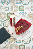 Poppy seed cake with yoghurt and redcurrants
