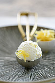 Vanilla ice cream with candied lemon zest in an ice cream scoop