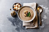Mushroom soup with crouton on concrete background