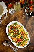 Asian Sesame Pasta Salad served with white wine