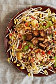 Indonesian rice salad with fried tofu