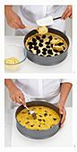 Custard-Pflaumenkuchen zubereiten