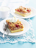 Pear and Raspberry Streusel Slice