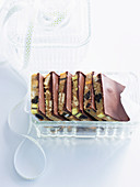 Süsser Riegel mit Lakritze und Schokolade