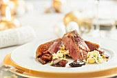 Goose breast with spiced cashew nuts for Christmas