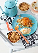 Nut and apricot crumble with apricot parfait