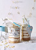 Biscuit baking mixtures in jars as gifts