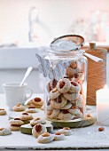 Nut macaroons with icing sugar