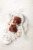 Almond brittle with chocolate and grated orange peel