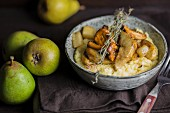 Polenta with roasted pears