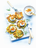 Courgette fritters with a cream cheese topping and smoked salmon