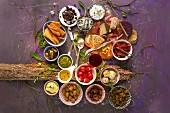 An arrangement of various appetizers