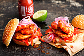 Thai-style prawn chicken burger